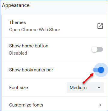 How to Show or Hide Bookmarks Bar in Google Chrome - ExcelNotes