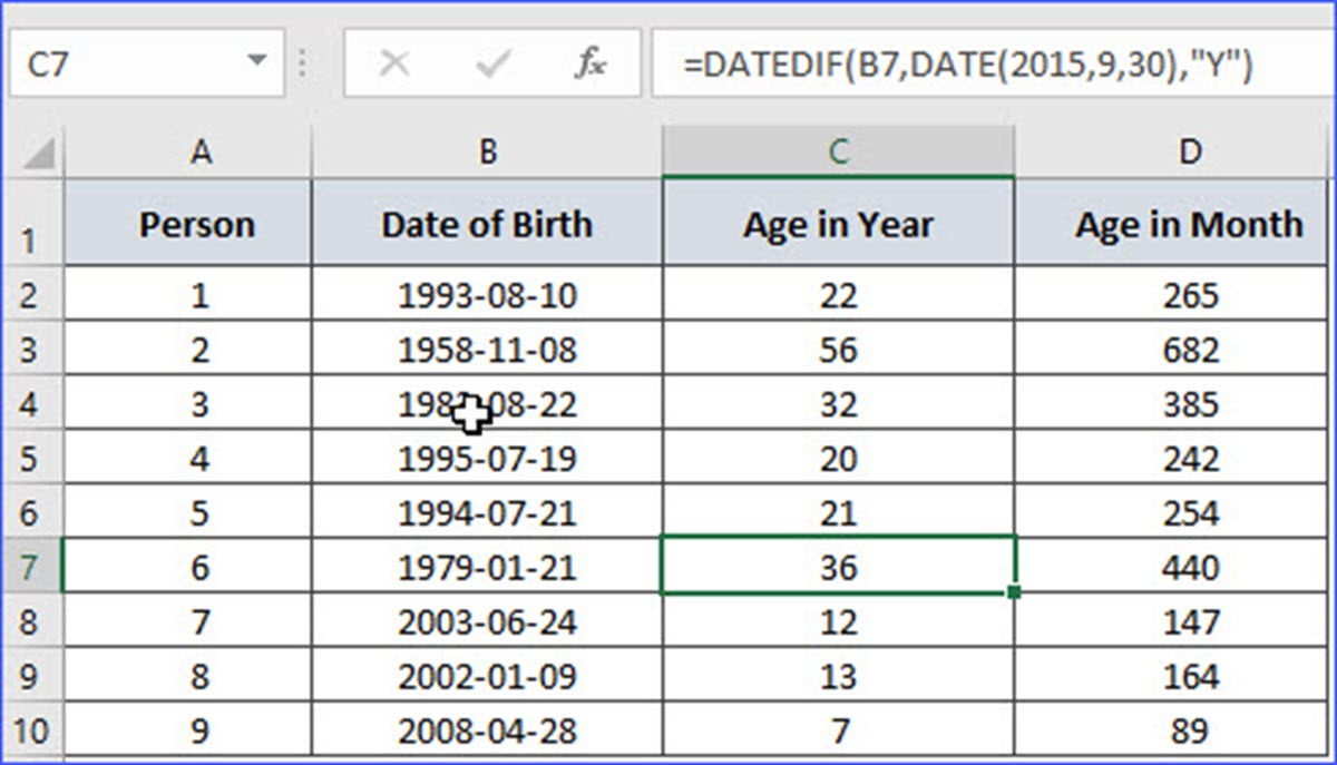 How to Group a Column by Age   ExcelNotes