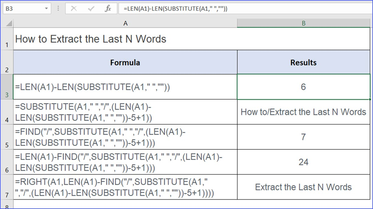 How to Extract the Last N Words - ExcelNotes