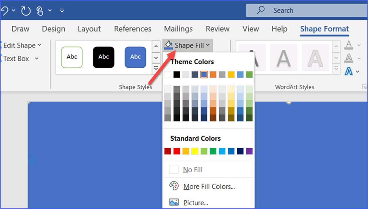 Change Color Only One Page In Word
