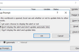 How to Disable Link Update Pop-up Message in Excel